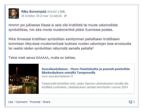 Facebook leike profiilistani vuodelta 2012 koskien kristillisten symbolien poistoa julkiselta paikalta.