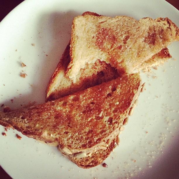 Cinnamon Toast: Sprouted bread, virgin coconut oil, cinnamon, raw sugar