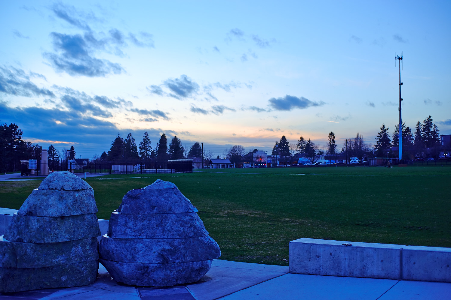 Rock sculptures with an open field. Great view for the sunset!