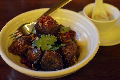 Caramelised pork hock, five spice, chilli vinegar