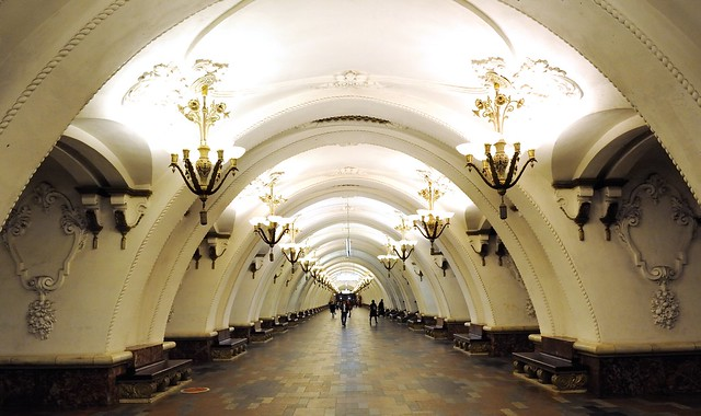 At the Arbatskaya Metro station in Moscow, Russia