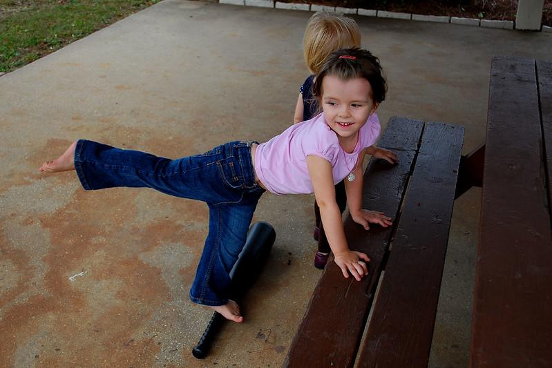 Practicing arabesques.