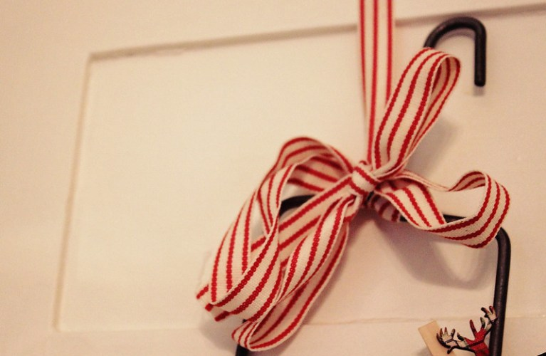 DIY Christmas Decor - Red and White Striped ribbon from Target | Alex Inspired