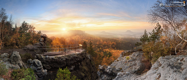 Sunset in Elbe Sandstone Mountains