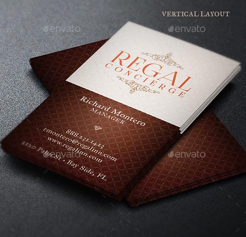 Regal Concierge Business Card Template - Vertical Layout