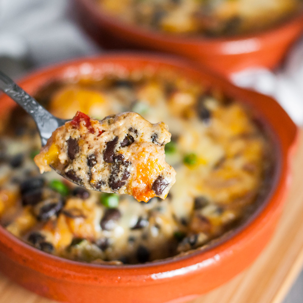 Black bean & butternut squash nacho cheese hot dish | #meatless #recipe at Natural Comfort Kitchen