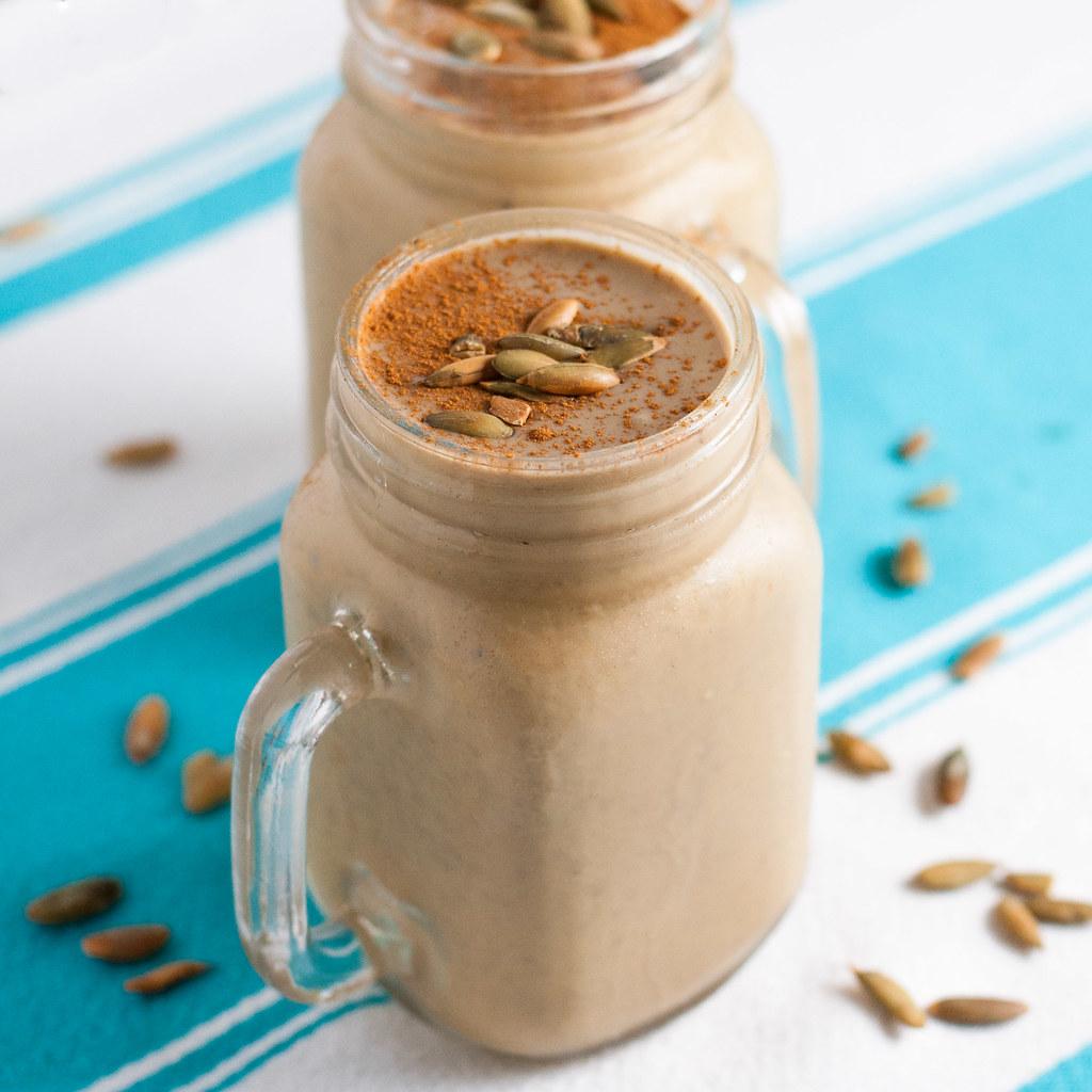 A quick, vegan pumpkin smoothie that tastes more like a milkshake.