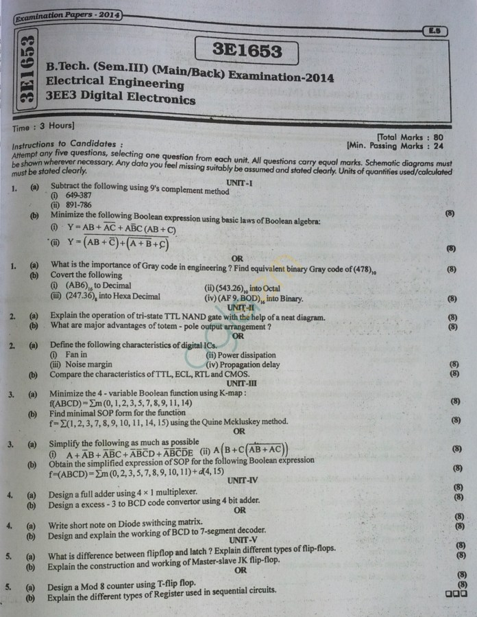 RTU: Question Papers 2014 - 3 Semester - EE, EC & CS - 3E1653