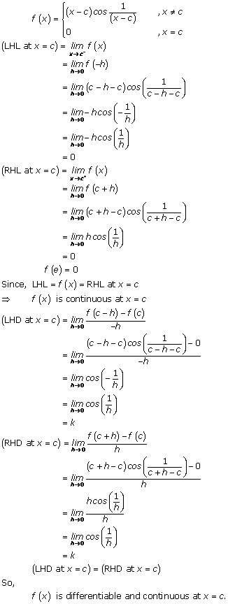 RD Sharma Class 12 Solutions Chapter 10 Differentiability Ex 10.2 Q9