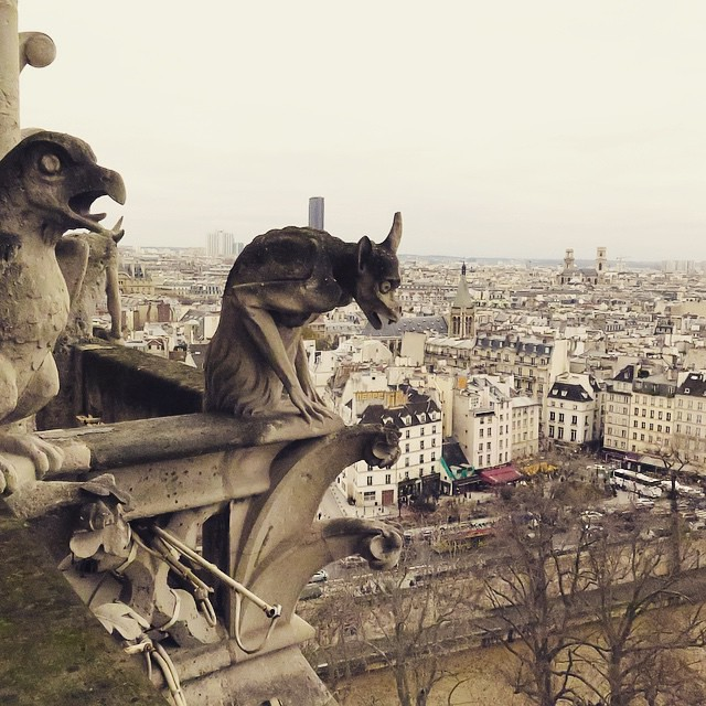 Paris Day One: Gargoyles on top of Notre Dame.