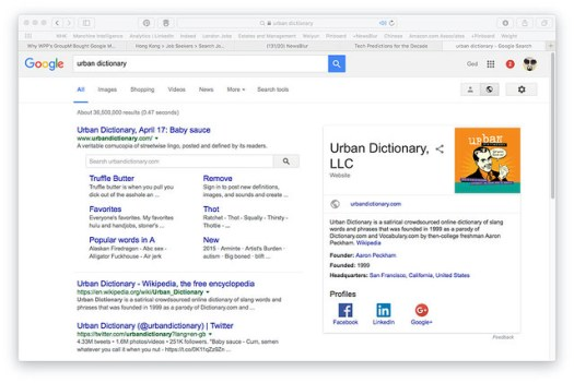 urban dictionary on Google SERP