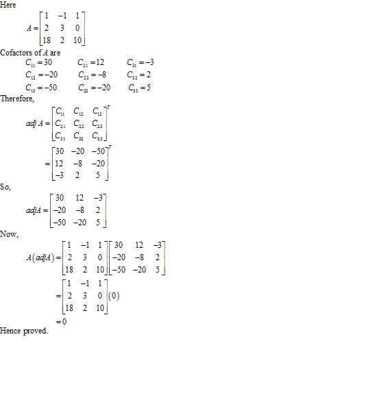 RD Sharma Class 12 Solutions Chapter 7 Adjoint and Inverse of Matrix Ex 7.1 Q3