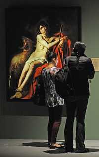San Juan Bautista, una de las 29 obras del renacentista Michelangelo Merisi da Caravaggio, reproducidas con tecnología digital, incluida en la exposición montada en el Centro Nacional de las Artes, la cual concluirá el próximo abril. También se muestras reproducciones de Da Vinci y Rafael Foto Arturo López/ Conaculta