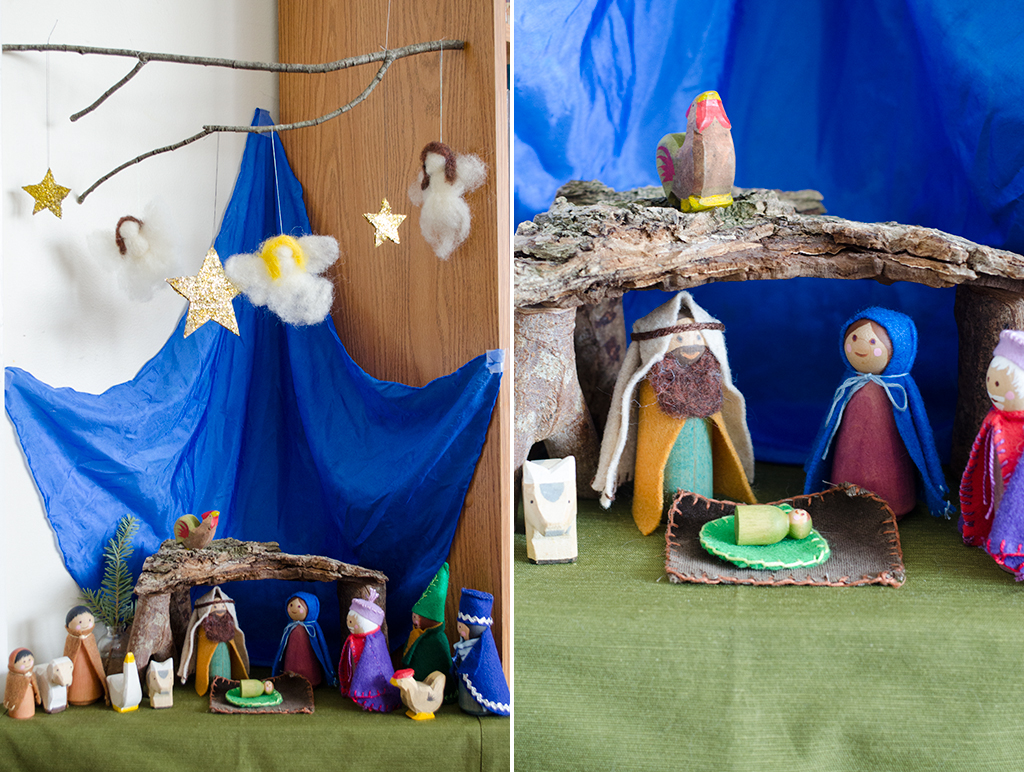 peg doll nativity collage