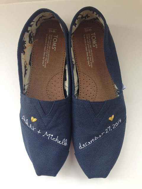 Custom embroidered TOMS - wedding shoes