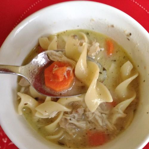A delicious bite of chicken noodle soup