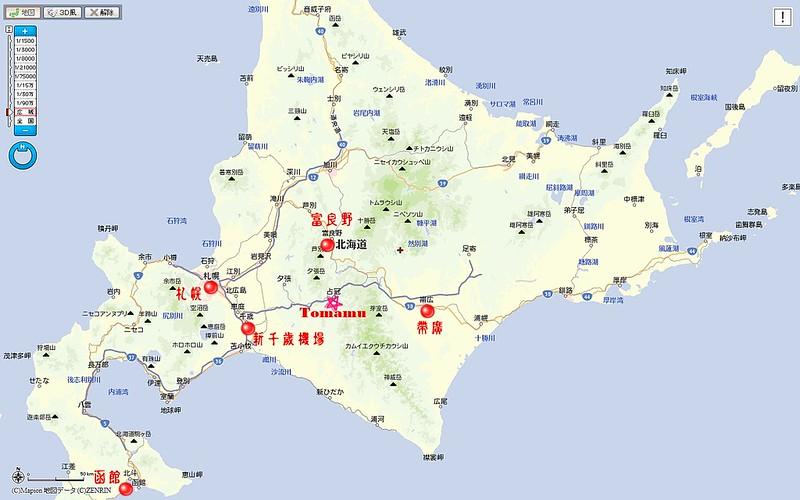 Tomamu北海道位置圖