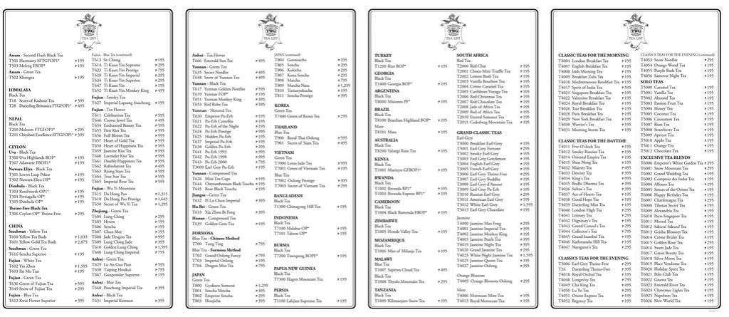 2014.01.17 - TWG Tea Menu Philippines (Salon) 2014