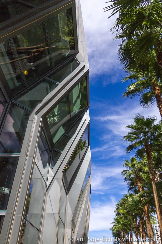 Angular building and palm trees