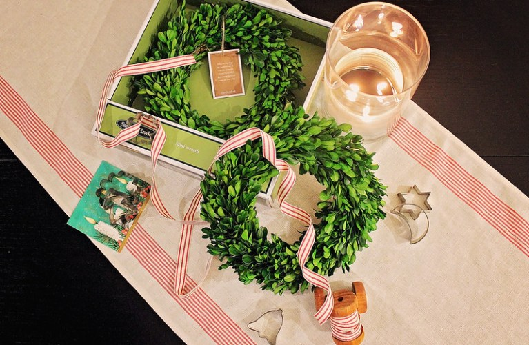 Collection of Christmas finds - for preparation! Boxwood Wreath (target), vintage Christmas Cards, Vintage Cookie Cutters, Ribbon and Festive Fabric
