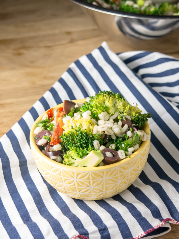 Mediterranean Broccoli and Barley Salad | www.infinebalance.com #salad #recipe #vegan