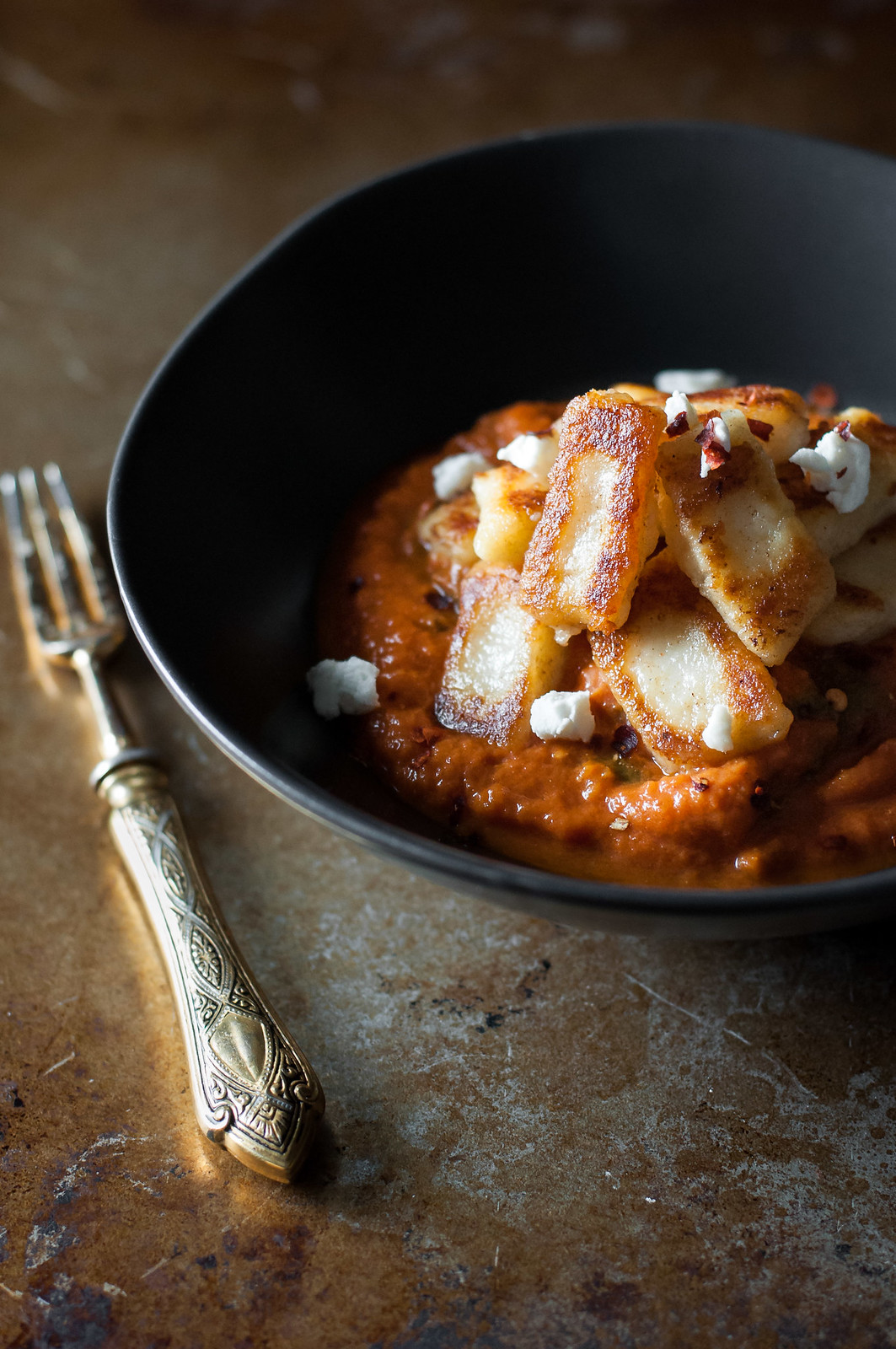 Creamy Roasted Red Pepper Marinara and Toasted Gnocchi