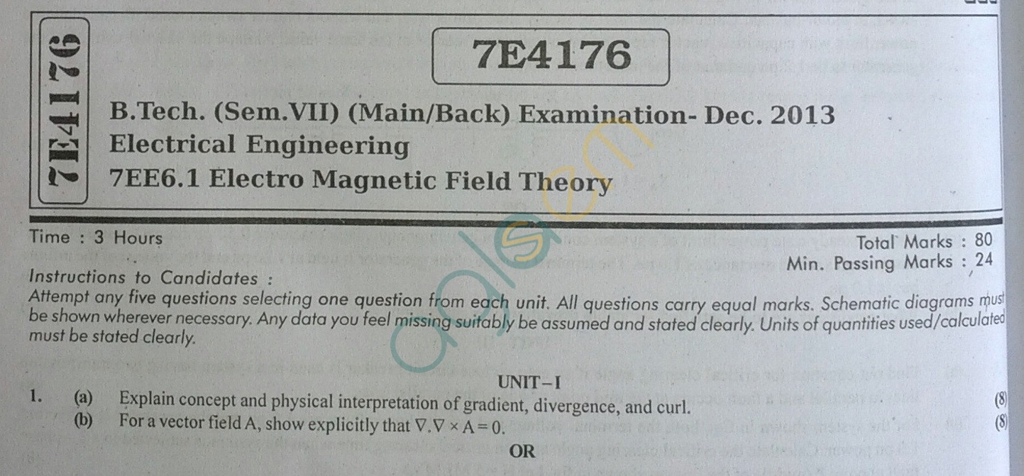 RTU: Question Papers 2013 - 7 Semester - EE - 7E4176