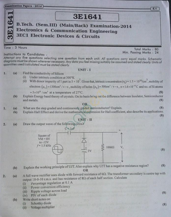 RTU: Question Papers 2014 - 3 Semester - EC - 3E1641