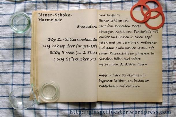 Einkaufszettel Birnen Schokoladen Marmelade by Glasgeflüster