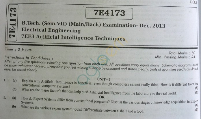 RTU: Question Papers 2013 - 7 Semester - EE - 7E4173