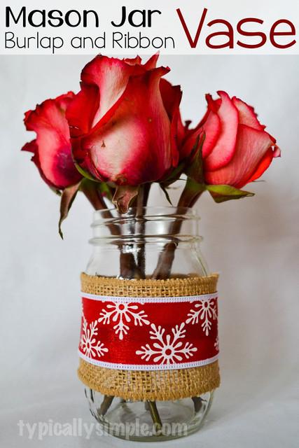 Simple-Burlap-and-Ribbon-Mason-Jar-Vase