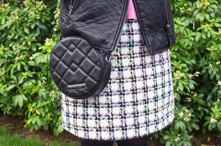 colourful tweed skirt detail