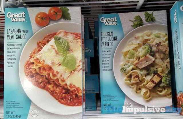 Great Value Lasagna and Chicken Fettuccine Alfredo Entrees