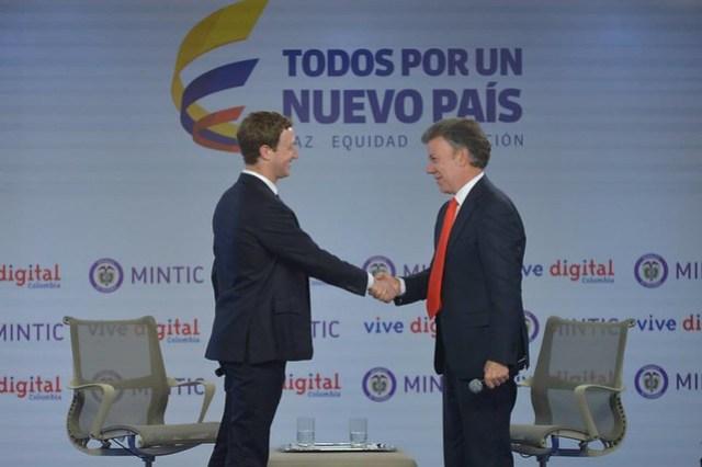 El CEO de Facebook Mark Zuckerberg, y el presidente Juan Manuel Santos anunciaron la disponibilidad de Internet.org