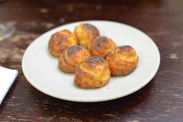cheese puffs, poppy seeds