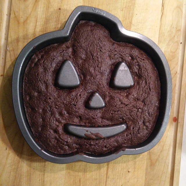 One of our silly Halloween traditions.. Baking brownies. Yum!
