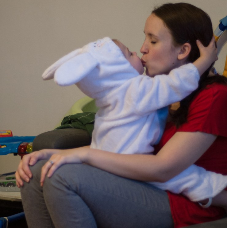 Micah the Hare kissing Mommy