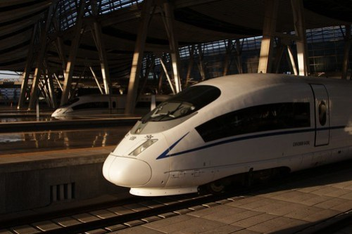CRH380B high-speed train awaiting departure from Beijing South railway station