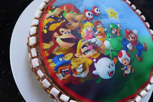 Super Mario chocolate and marshmallow cake