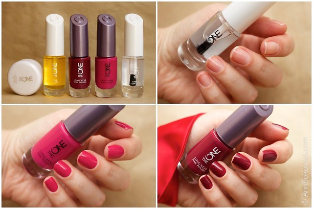 Oriflame The One Nail Polish   Fuchsia with Oriflame The One Base & Top Coat, Oriflame The One Ruby Rouge