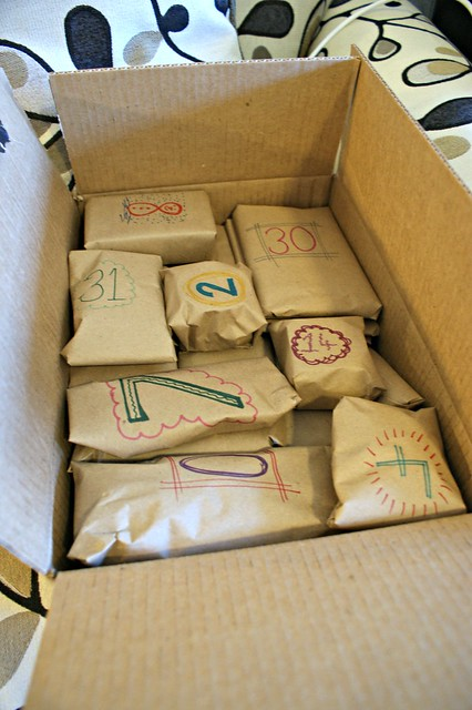 Box of advent parcels