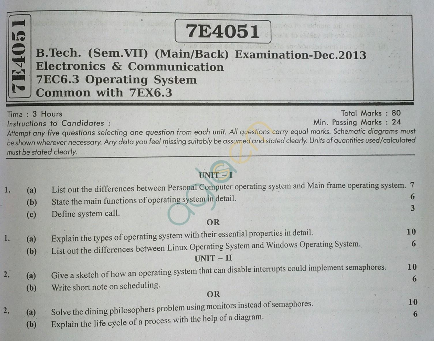 RTU: Question Papers 2013 - 7 Semester - EC - 7E4051