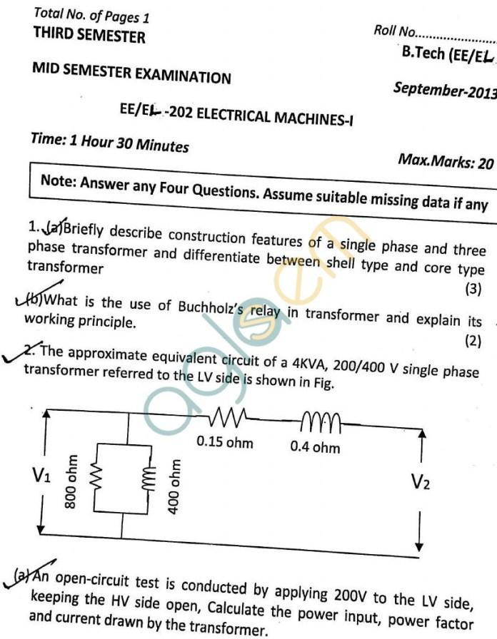 DTU: Question Papers 2013 – 3 Semester - Mid Sem - EL-EL-202