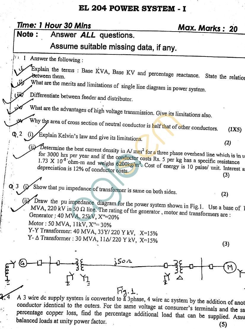 DTU: Question Papers 2013 – 3 Semester - Mid Sem - EL-204