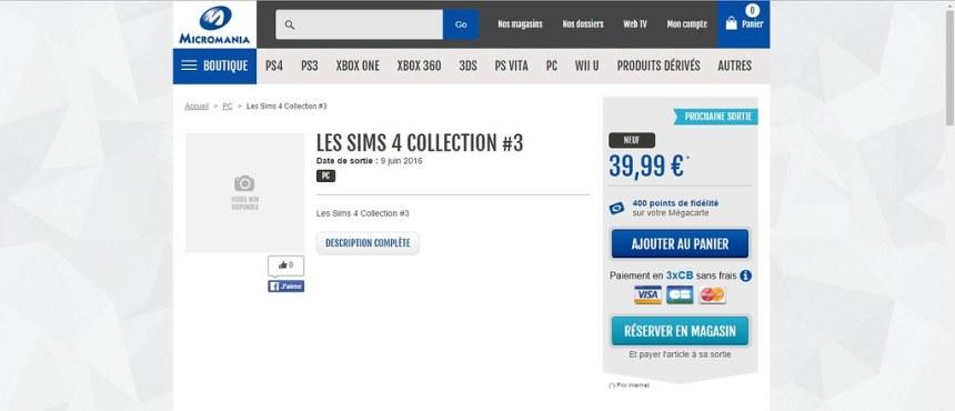 """Micromania change la date de sortie """"Les Sims 3 collection #3"""