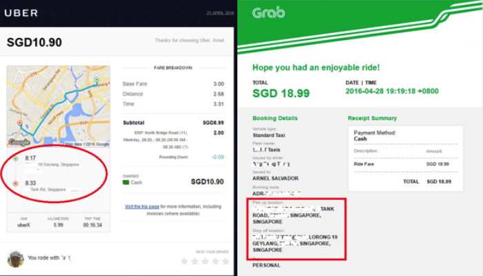 Grab Vs Uber Fare