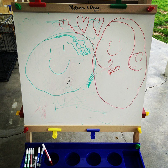 This is me and you, mama! Artwork by Fiona... (Age 3 years, 1 month)