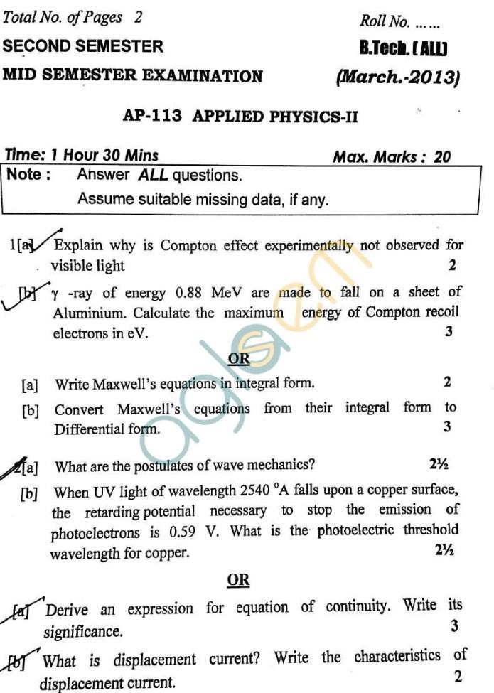 DTU: Question Papers 2013 – 2 Semester - Mid Sem - AP-113