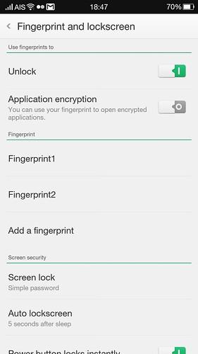 การสแกนลายนิ้วมือใช้ปลดล็อกหน้าจอ กับถอดรหัส App