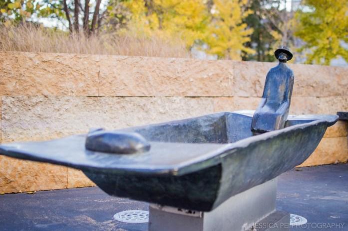 Man in Boat Sculpture in Citygarden St. Louis